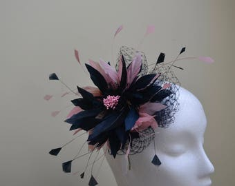 Dusky pink and navy fascinator