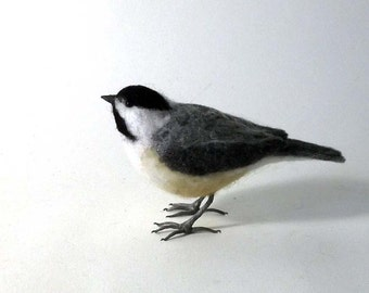 Black-capped Chickadee Needle Felted Bird