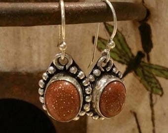 Sterling and Goldstone earrings