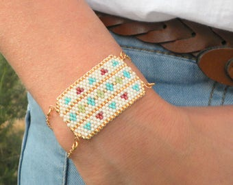Native american beaded jewelry, Cuff Bracelet, Festival Bracelet, Wide beaded bracelet, Statement Bracelet, Unique Gift women