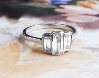 Art Deco Emerald Cut Ring Circa 1930's Vintage Three Stone Diamond Anniversary Engagement Wedding Ring 18k White Gold