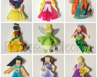 Princess - Sleeping Beauty, Snow White, Tinkerbelle, Brave 3D Inspired 3D Hair Bow Clip