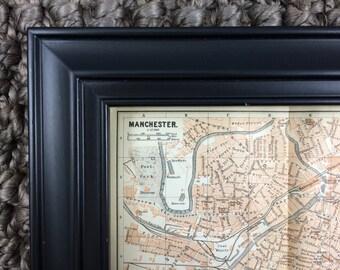 1897 Manchester Map [7.9 x 5.7 in.] United Kingdom, Britain, British, England, English, Great Britain