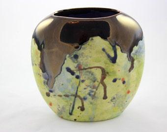 Ceramic Pottery Green and Metallic Brass Oval Pillow Vase, Flower Vase