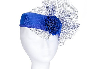 Janeo Royal Middleton Pillbox Fascinator Hat Headwear. Classic, Clean Shape with Net Bows Fan and Fabric Rose Centre. 5 Colours - Royal Blue