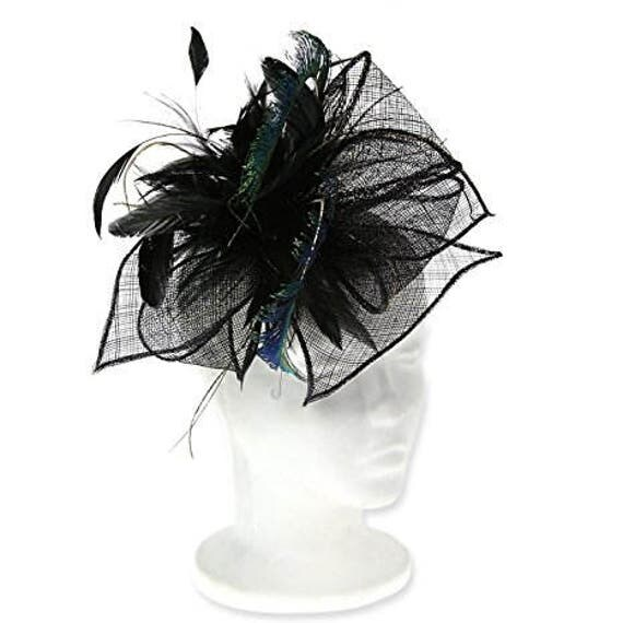 Dramatic Peacock Feathers Flowers Bridal Bouquet Purple: Peacock Feathers Dramatic Occasion Hat For Women Stunning