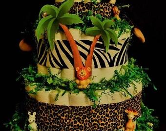 Jungle four tier Pamperd Diaper Cake