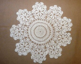 Crocheted Round Doily, Ecru or Off White, Beige, Table Centrepiece, Tray Cloth, Coaster, Handmade Doily, Scalloped Edge, Taupe, 0503