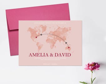 Save the Dates, World Map, Destination Wedding, Travel Save the Date Cards- DEPOSIT