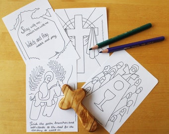 Easter Holy Week Printable Prayer Cards / Colouring Sheet