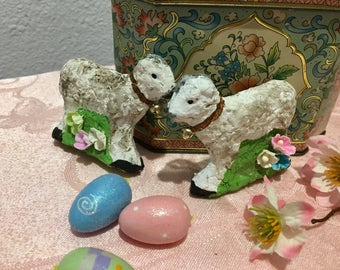 Pair of Vintage Style, Paper Mache', Easter Lambs