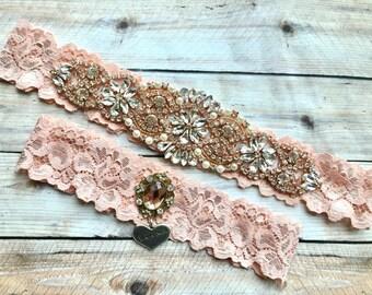 Rose Gold Wedding Garter, Blush Garter Set, Blush Bridal Garter, Rose Gold Garter, Wedding Garter Blush, Pink Garter, Pink Garter Set