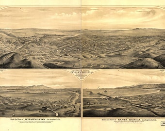 Los Angeles, California, 1877, 1800's, Old Map Print, Town View,  Photo Print