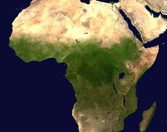 Continent of Africa Picture, Satellite Photo Print