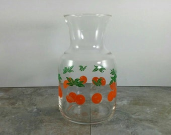 Vintage Glass Orange Juice Carafe/Pitcher with Oranges and Leaves