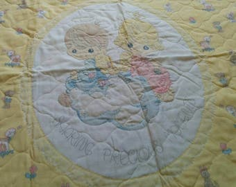 Vintage Quilted Precious Moments Baby Blanket in Yellow with Baby Blue Border