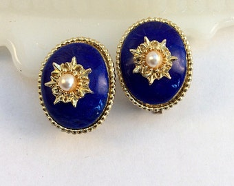 Vintage Earrings in Cobalt Blue and Gold Tone with Seed Pearls