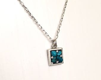 "Petite square Turquoise necklace on 18"" chain"