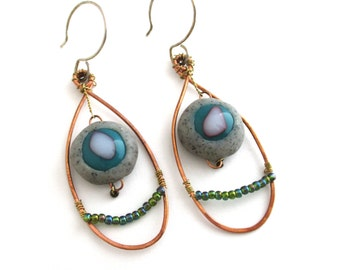 Fused Glass and Copper Wire Earrings