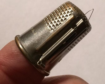 Unique Thimble M.T. PAT'D 9 Made in USA with built in needle threader