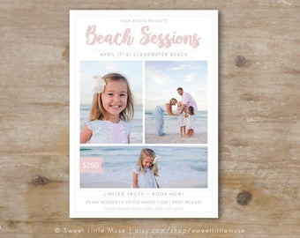 Beach Mini Session Marketing Template - 5x7  Photographer Marketing Template - Beach Sessions