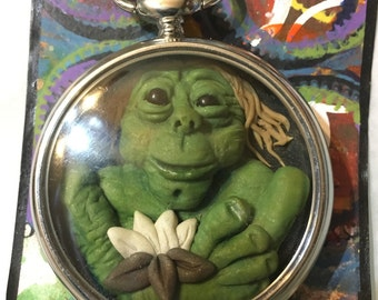 Take Time for Nature - polmer clay sculpt in a pocket watch!