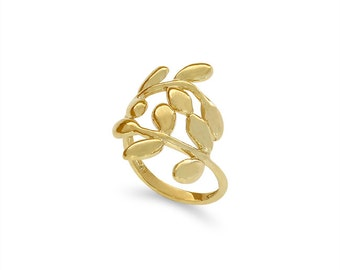 14k solid gold leaf ring. fancy ring, floral ring.