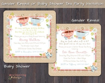 Tea Party Baby Shower or Gender Reveal Party Invitations with Envelopes | Gender Neutral Baby Shower Tea Party