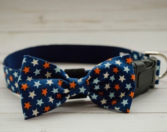 "The ""Firecracker"" Dog Bow Tie Collar in stars print"