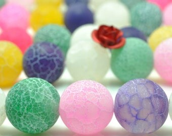 37 pcs of Fire Agate Matte  Rainbow round beads in 10mm