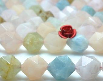 15 inches Natural  Mixed chalcedony  faceted Nugget beads in in 10mm