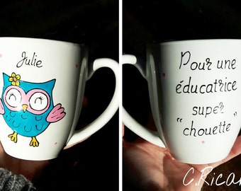 Cup coffee, owl, porcelain, gift, decoration, mugs, adult, handpainted, Super, to an educator