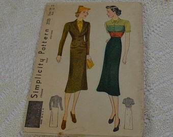 1930's Simplicity Suit and Blouse Pattern 2723