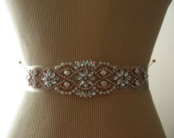 Sale, Rose Gold Wedding Belt, Bridal Belt, Bridesmaid Belt, Sash Belt, Rose Gold Sash, Crystal Rhinestone & Pearl