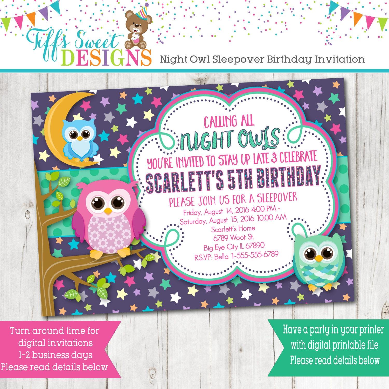 Night Owl Sleep Over Birthday Party Invitation Slumber Party