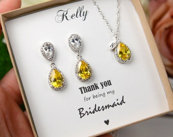 Yellow Earrings  yellow Silver Earrings Teardrop yellow silver earrings necklace set Bridesmaid Earrings Wedding Earrings Bridesmaid Jewelry