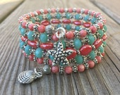 Key West Coral Multi Coil Memory Wire Bracelet with Seashell Charms