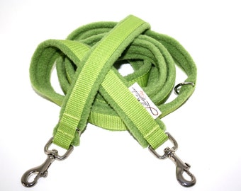 Dog leash Adjustable padded with fleece lime Apple green