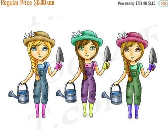 50% OFF Clipart girl Girl clip art Digital Stamp Coloring