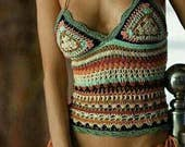 CUSTOM ORDER for CAROL. Crochet top in perfect boho chic style.