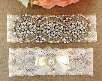 Rhinestone Garter - Wedding Lace Garter Set - Pearl Garter - Toss Garter - Bridal Garter - Wedding Garter Belt - Keepsake Garter