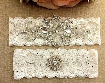 Rhinestone Wedding Garter - Lace Garter Set - Toss Garter - Bridal Garter - Ivory Garter - Wedding Garter Belt - Keepsake Garter