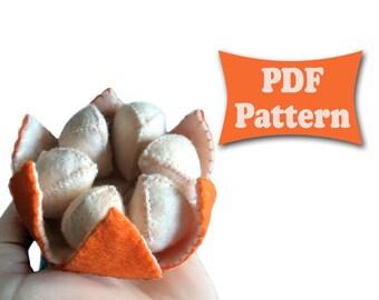 Felt Tangerine, Tangerine Pattern, Felt Pattern, Mandarine Pattern, Citrus Pattern, Felt Fruit Patterns, Felt Food Pattern, Felt Toy Pattern
