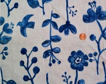 Kokka Double Gauze- Watercolor Flowers in Blue