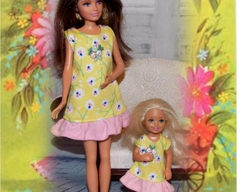 Yellow Nightgown with a Pink Ruffle.  Handmade Clothes for Sister sized dolls (Clothes only, Skipper and Chelsea Dolls not included)