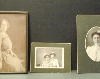 3 Black and White photos of Vintage Women- 1 in frame, other two in black cardboard