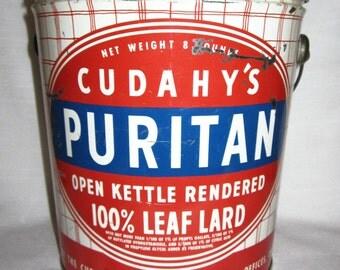 Vintage Cudahy's Puritan Leaf Lard 8 lb Pound Tin Omaha Nebraska Canco Tin