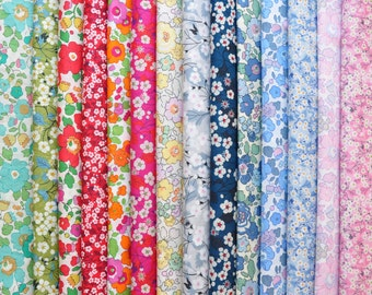 "14 LIBERTY of London fabric Tana Lawn 5"" x 5"" Patchwork Charm pieces, scraps  -Mitsi,Betsy,Mitsi Valeria - Classic Prints + Rare colours"