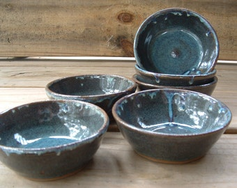 Set of six handmade stoneware ramekins or sauce bowls  in blue