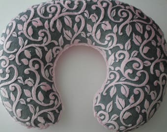 Granada Vine in Gray and Baby Pink Minky Boppy Pillow Cover, Zipper Closure, Baby Girl, Baby Shower, Feeding, Nursing